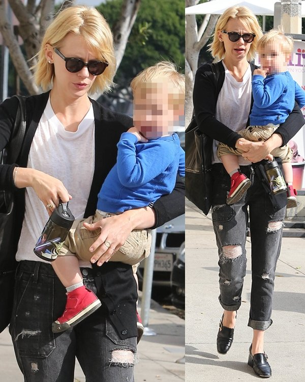 January Jones out and about with her son, Xander, in Los Angeles