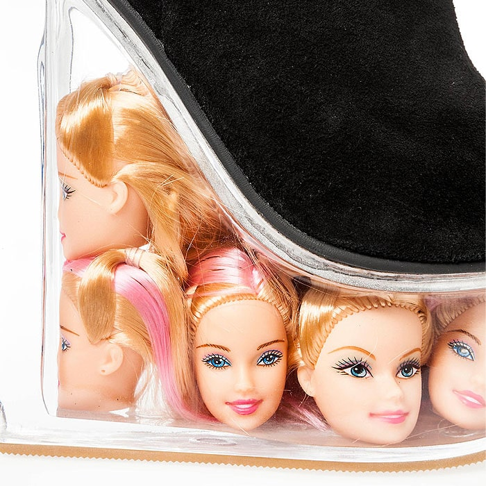 Jeffrey Campbell Black Suede Icy Shoes With Barbie Doll Heads