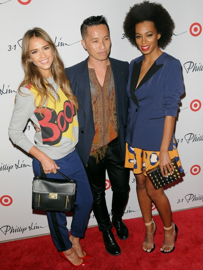 Jessica Alba, Phillip Lim, and Solange Knowles at the 3.1 Philip Lim for Target Launch Event in Manhattan on September 6, 2013
