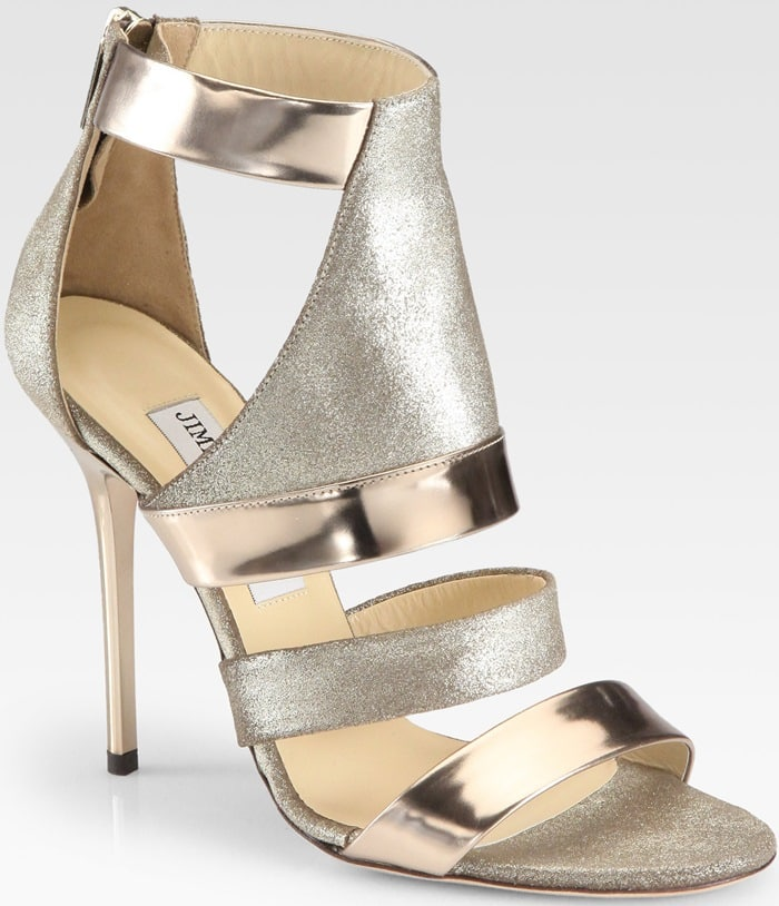 Jimmy Choo Gold Besso Metallic Mirror Leather Glitter Sandals