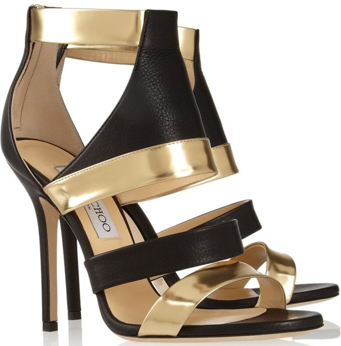 Jimmy Choo Gold Besso Textured and Mirrored leather Sandals