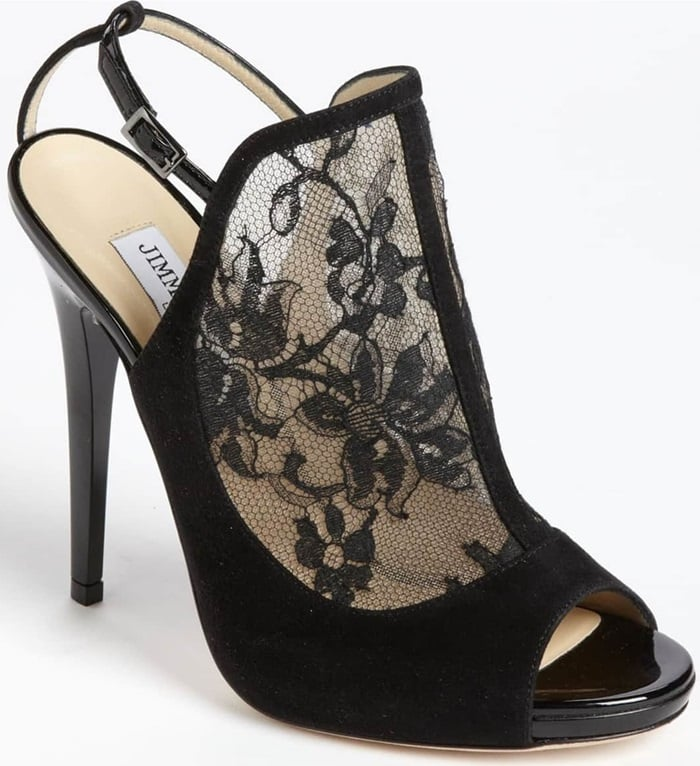 Decadent suede frames the ladylike lace of an impeccably cut sandal perched atop a slim, wrapped heel
