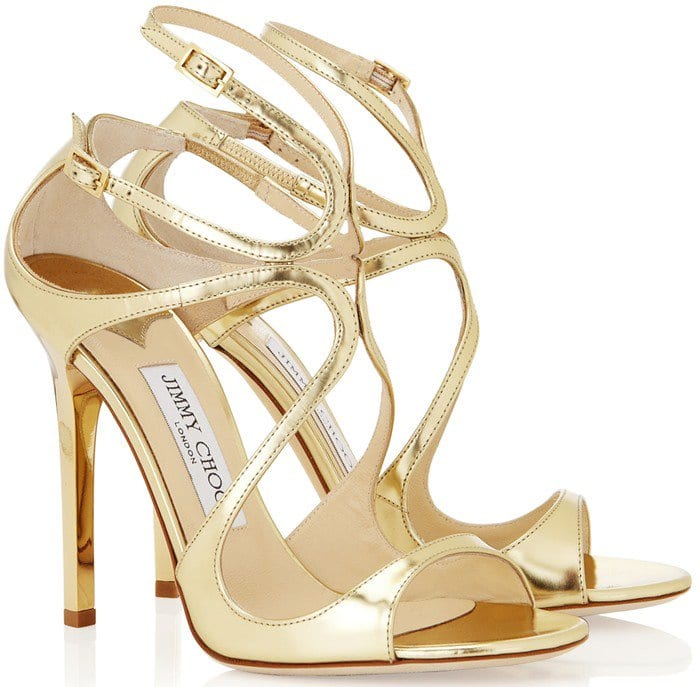 Jimmy Choo Metallic Leather Lance Sandals in Gold