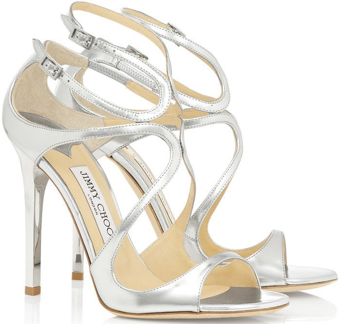 Jimmy Choo Metallic Leather Lance Sandals in Silver