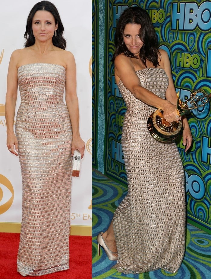 Julia Louis-Dreyfus wears a Champagne-colored dress from Monique Lhuillier on the red carpet