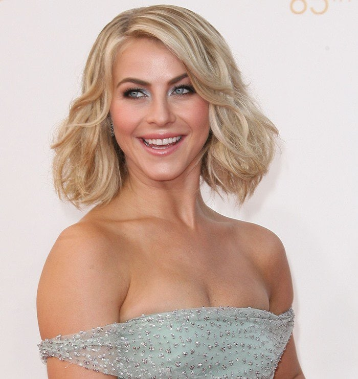 Julianne Hough wears a beaded dress at the 2013 Emmy Awards