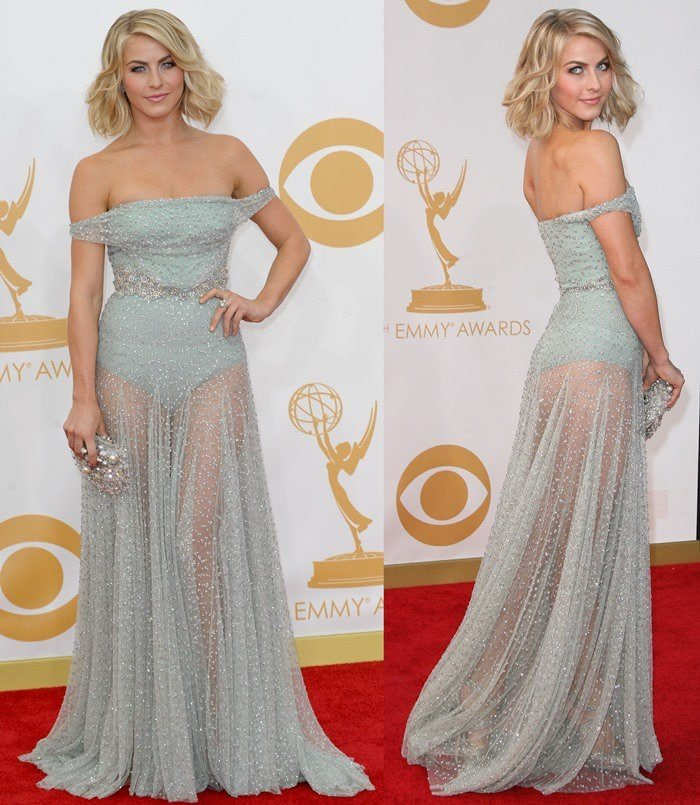 Julianne Hough shows off her backside in a sheer Jenny Packham Spring 2014 gown
