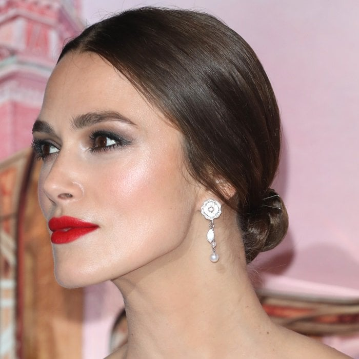 Keira Knightley's sparkling Chanel earrings and simple low bun
