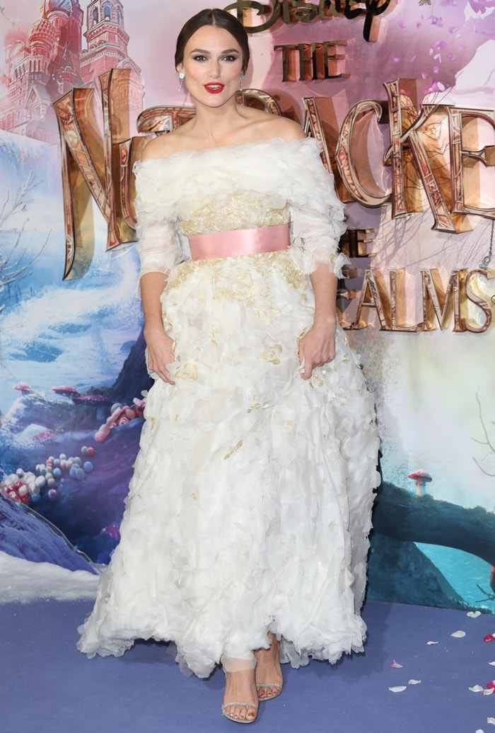 Keira Knightley in a white Chanel Haute Couture dress at the premiere of The Nutcracker And The Four Realms held at Vue Westfield in London, England, on November 1, 2018