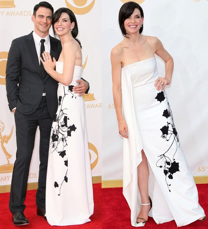 Julianna Margulies poses with her husband Keith Lieberthal at the 2013 Emmy Awards