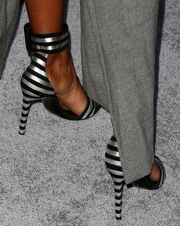 Kelly Rowland'sstriped suede and lame leather sandals