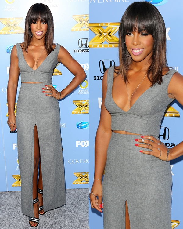 Kelly Rowland in a revealing v-neck crop top and a matching skirt