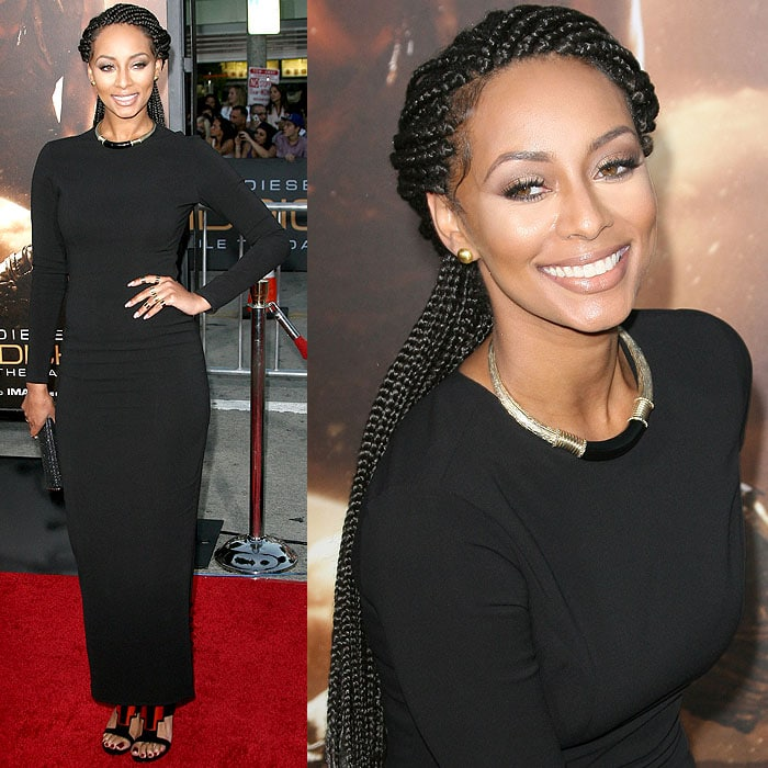 Keri Hilson in a figure-hugging dress at the premiere of Riddick