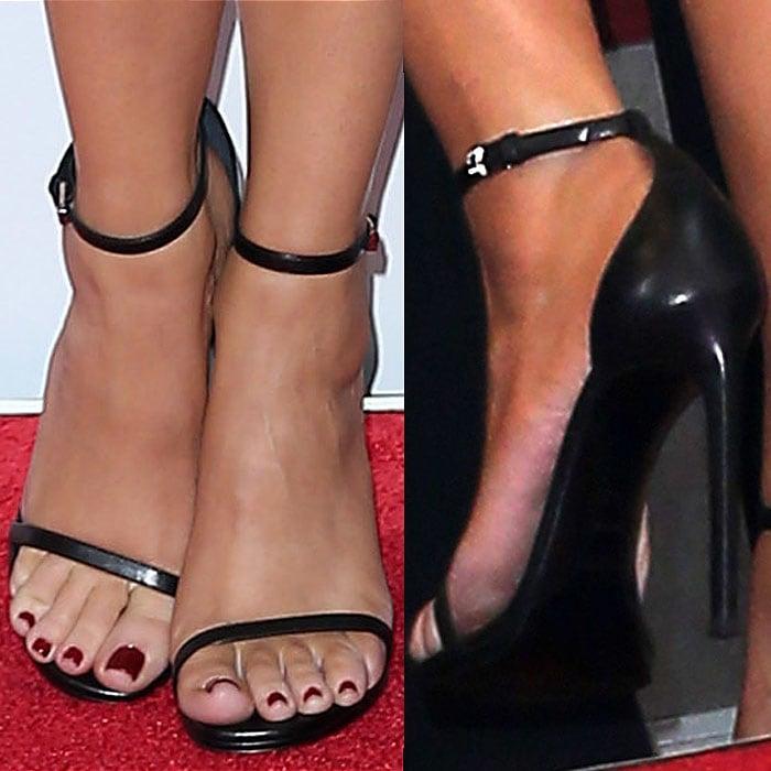 Khloe Kardashian Saint Laurent Jane sandals 1