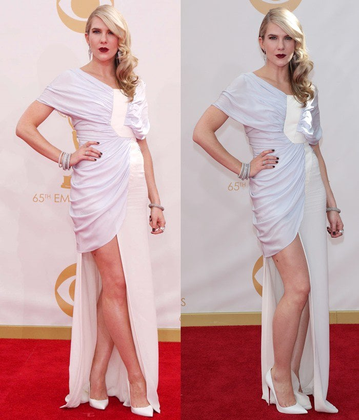 Lily Rabe attends the 2013 Emmy Awards