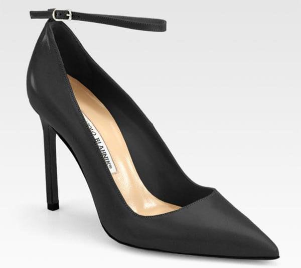 Manolo Blahnik BB Ankle Strap Pumps Black