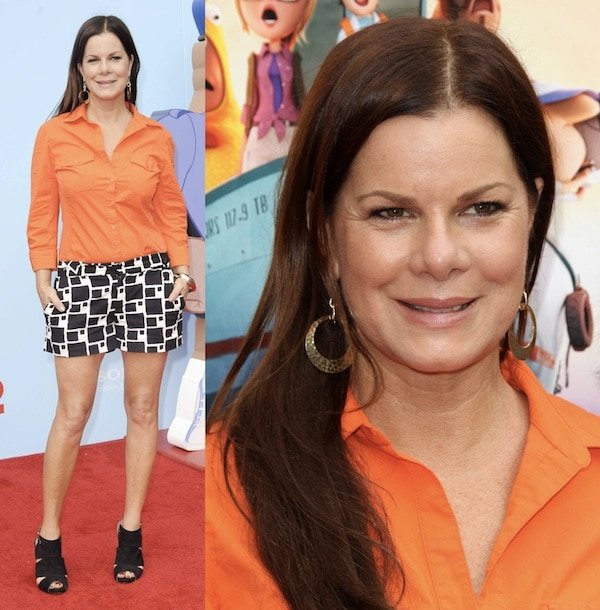 Marcia Gay Harden in a youthful getup of printed shorts and a bright shirt paired with black cage sandals for the premiere of 'Cloudy with a Chance of Meatballs 2'