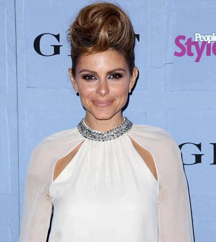Maria Menounos wearing a regal-looking Haute Hippie embellished blouse