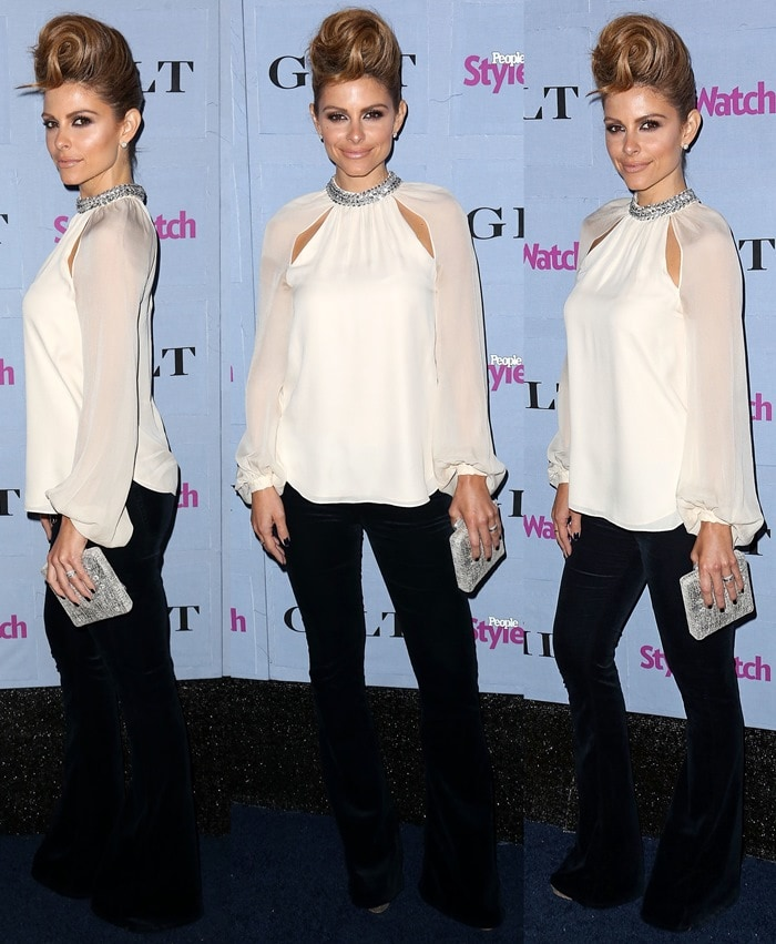 Maria Menounos' Haute Hippie crystal-collared silk blouse is grandiose and elaborate enough to be the sole focus on an outfit