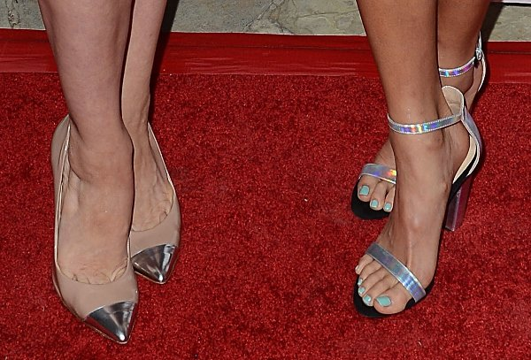 Which shoes won the battle of the metallics: Brittany Snow's pumps or Jamie Chung's sandals?