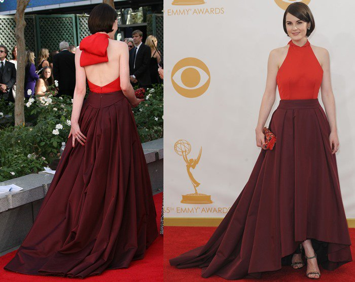 Michelle Dockery wears a Prada gown to the 2013 Emmy Awards