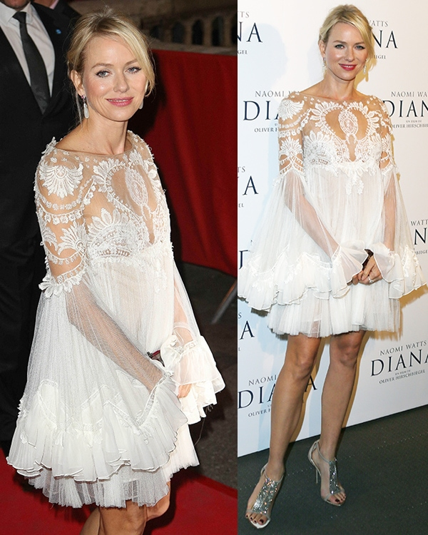 Naomi Watts wearing a dress with a sheer lace design with chiffon layers at the skirt and sleeves