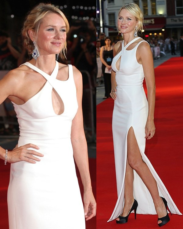 Naomi Watts' white Versace dress at the world premiere of 'Diana' at The Odeon Leicester Square on September 5 was stunning