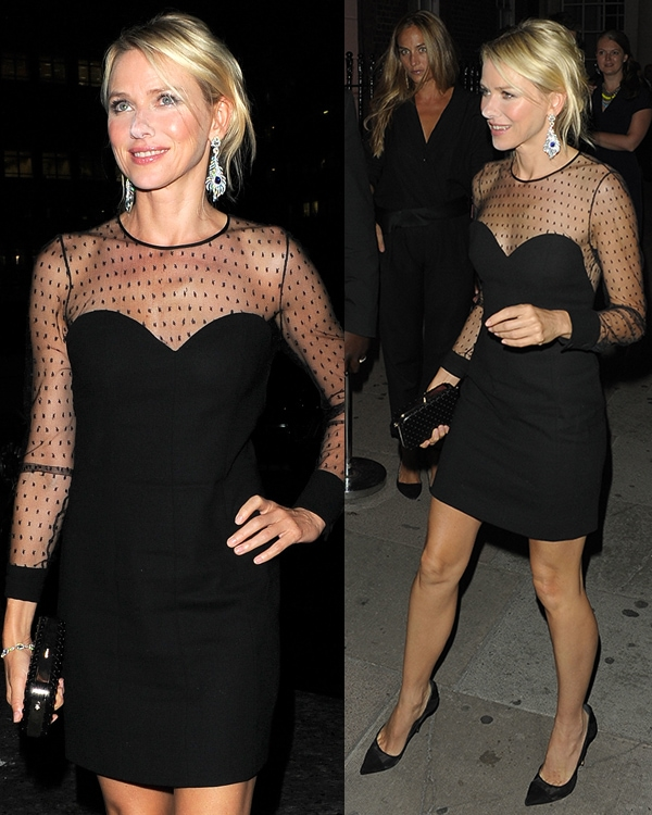 Naomi Watts changed into a little black dress by Saint Laurent