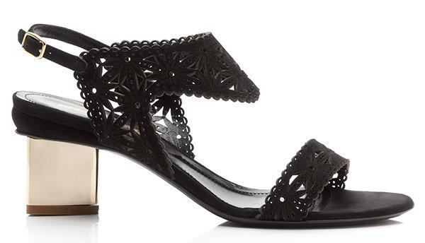 Nicholas Kirkwood Black Lasercut Suede Sandals