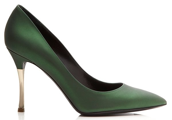 Nicholas Kirkwood Dark Green Metallic Platino Metal Heels