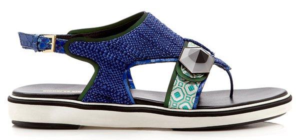 Nicholas Kirkwood Navy Raffia Thong Sandals