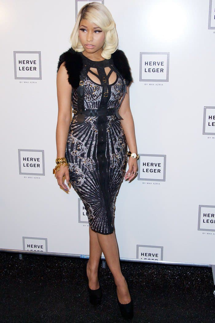 Nicki Minaj going extra glam and polished for the Herve Leger presentation during 2014 Mercedes-Benz Fashion Week in New York City on September 7, 2013