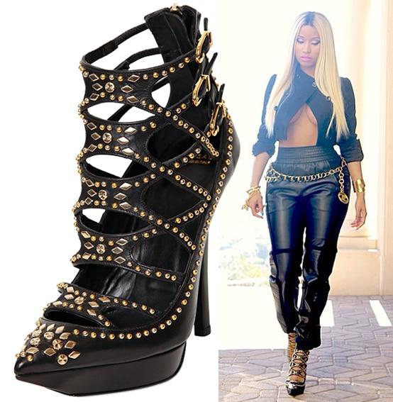 Nicki Minaj's Versace cage boots
