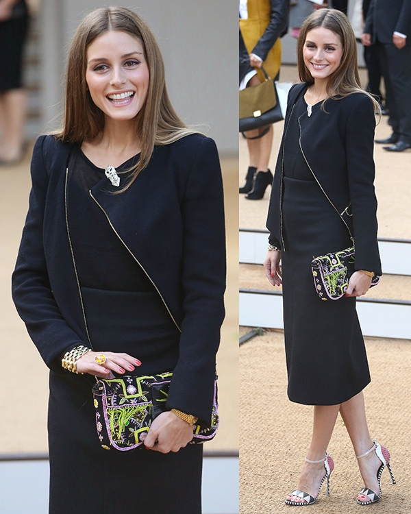 Olivia Palermo flashed her legs in a Burberry pencil skirt and an asymmetric zip jacket