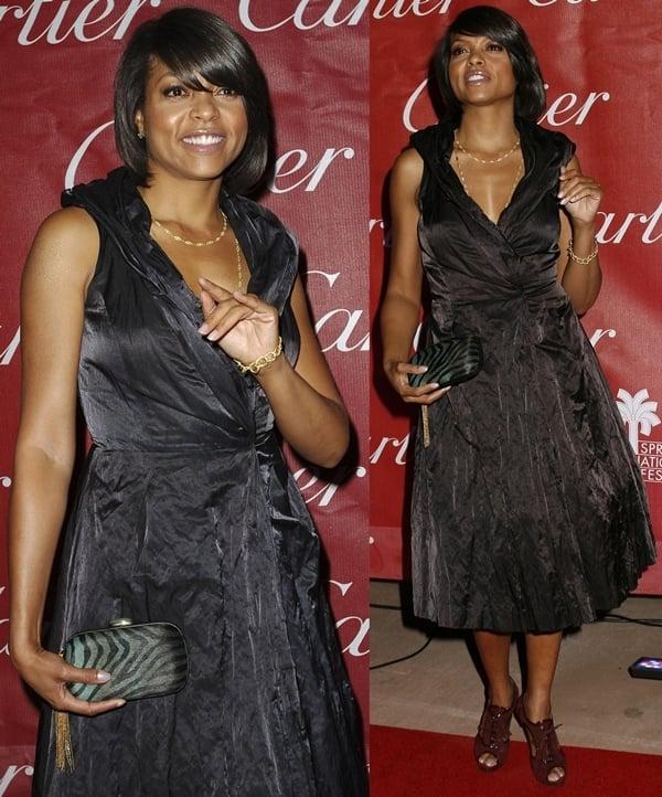 Taraji P. Henson in black dress and maroon peep-toe booties