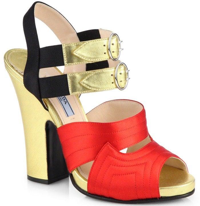 Prada Bicolor Metallic Leather and Satin Platform Sandals