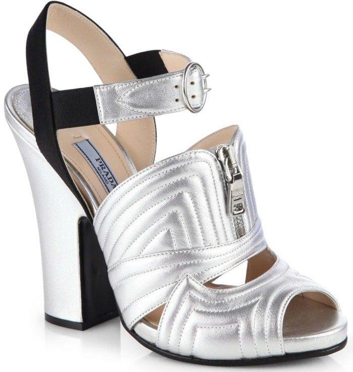 Prada Metallic Leather and Satin Sandals