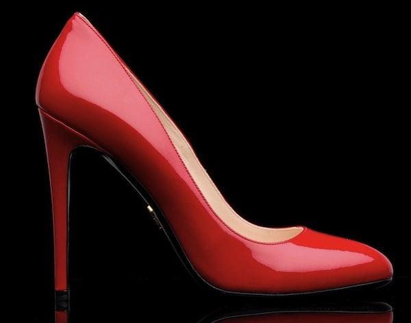 Prada red patent pumps