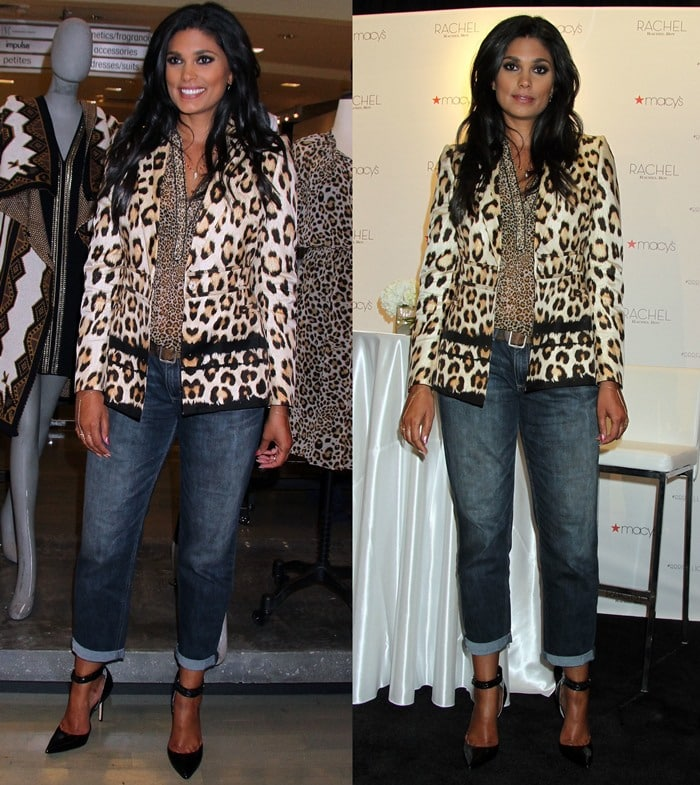 Rachel Roy wisely mixed simple and bold pieces by wearing two different leopard prints with folded-up denims and a pair of ankle-strap d'Orsay pumps