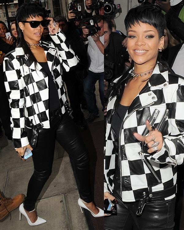 Rihanna arrives back at her London hotel