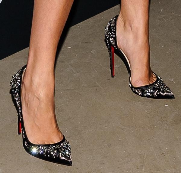 Rita Ora wearing rhinestone Louboutins