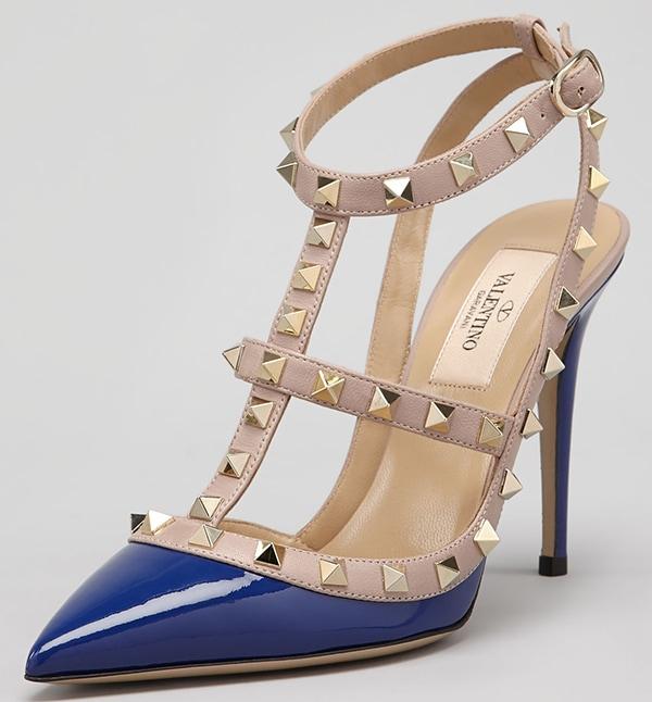 Rockstud Two-Tone Patent Sandals Blue