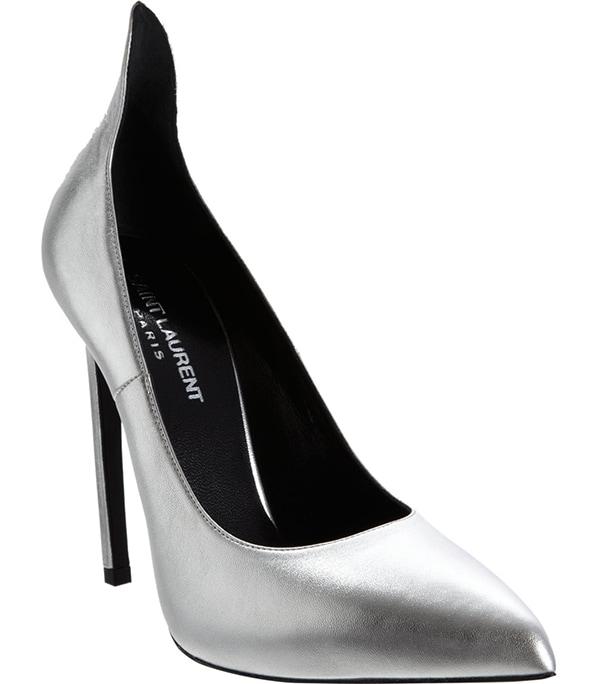 Saint Laurent Thorn Pumps Silver