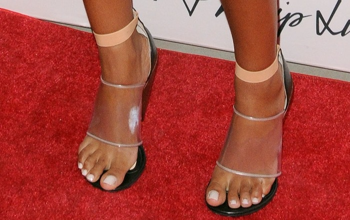 Solange Knowles wearing Givenchy cone-heel sandals