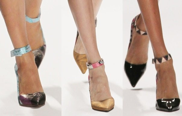Custo Barcelona sticking to the basic pointy ankle-strap pumps for Spring 2014 but infusing them with color and texture