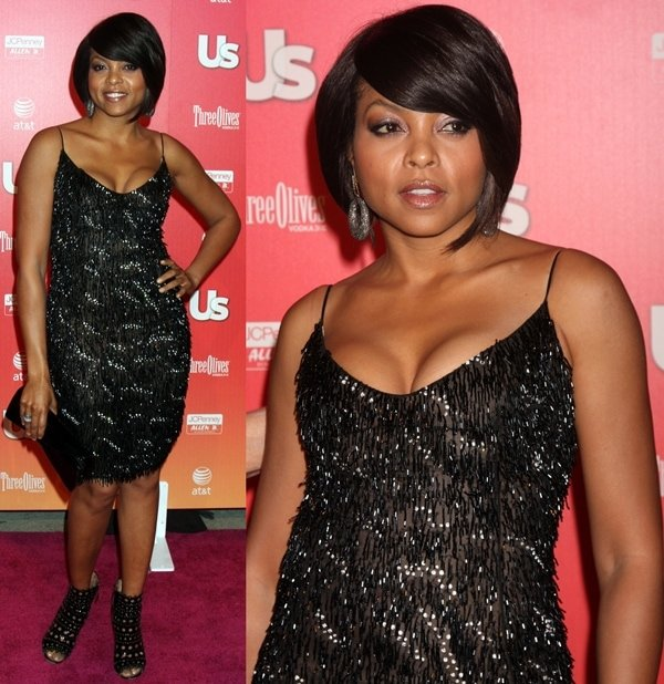 Taraji P. Henson in Emanuel Ungaro fringed flapper-style dress and Azzedine Alaia boots