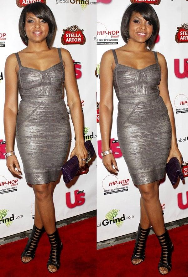 Taraji P. Henson's toned legs in a metallic gunmetal Herve Leger Spring 2009 dress