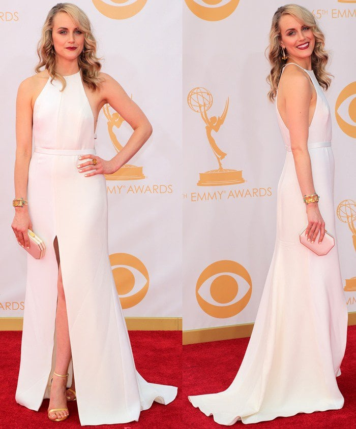 Taylor Schilling wears a minimalistic look to the 2013 Emmy Awards
