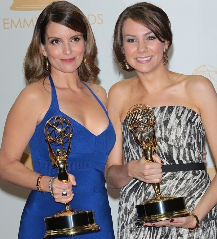 Tina Fey, posing with Tracey Wigfield, at the Emmys