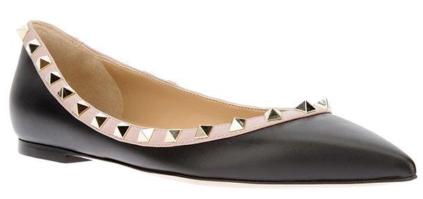 Valentino Rockstud Ballet Flats Black Leather